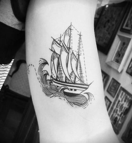simple ship tattoos inner arm - Google Search