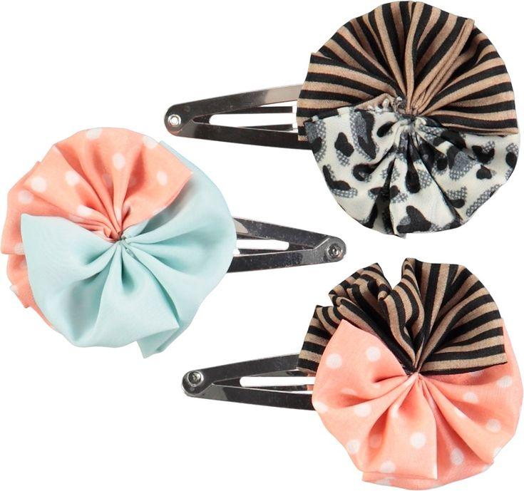 Woven Circle Clips - Multi Color - färgglada hårspännen med prickar och ränder