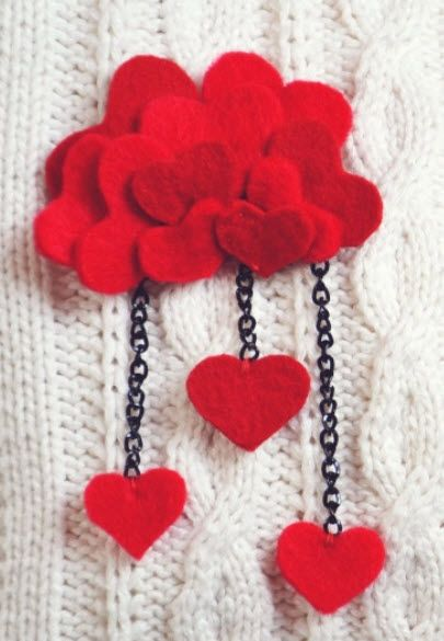 felt heart brooch- maybe with variations of pink/red or rainbow colors