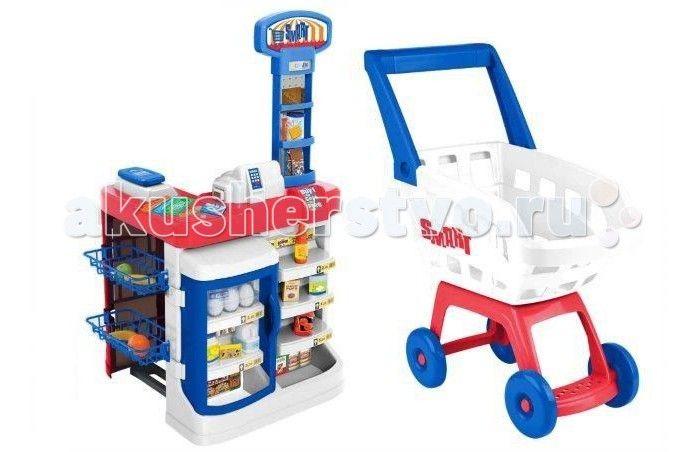 HTI Супермаркет  Супермаркет Smart Hti с тележкой для покупок превратит детскую комнату в настоящий супермаркет! Особенно будет интересно играть вдвоем, поскольку один сможет быть продавцом, а другой - покупателем. Раскладывайте товары, выбирайте нужные продукты, расплачивайтесь на кассе - у этого набора огромный потенциал для сценариев игры в супермаркет.  Особенности: в наборе предусмотрены муляжи продуктов, с помощью которых можно научить ребенка выбирать необходимые для определенных блюд…