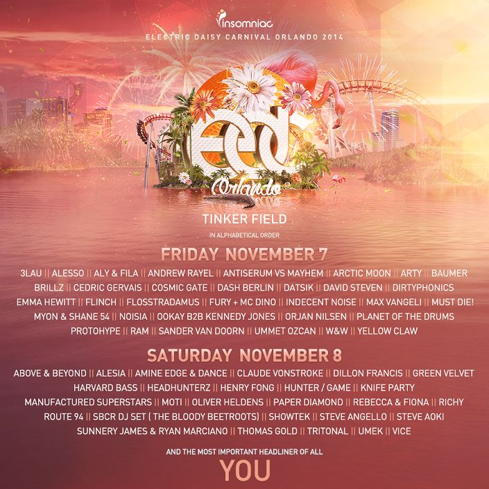 EDC Orlando Single-Day Tickets Released | Insomniac  EDC Lineup http://insomniac.com/news/edc-orlando-single-day-tickets-released