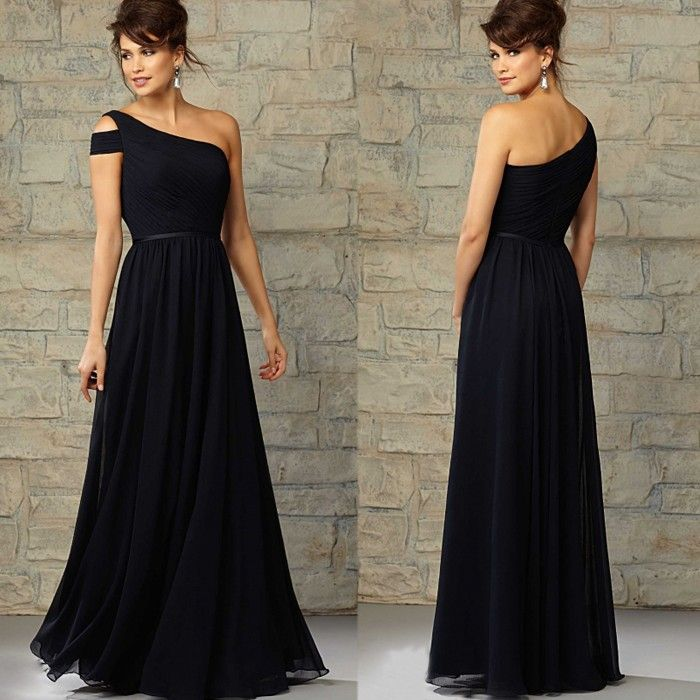 Um ombro preto elegante Chiffon longo da dama de honra vestido sem mangas Zipper voltar personalizado empregada doméstica de honra vestido de alta qualidade