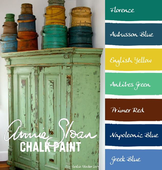 Modern on Vintage Cupboard - Colorways - Leslie Stocker - Annie Sloan Chalk Paint® (ASCP) Florence, Aubusson Blue, English Yellow, Antibes Green, Primer Red, Napoleonic Blue, Greek Blue