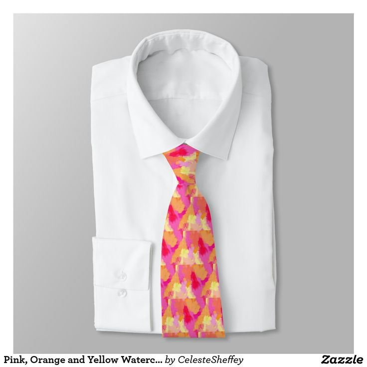 Pink, Orange and Yellow Watercolors Neck Tie (sold UK) Thank you!!