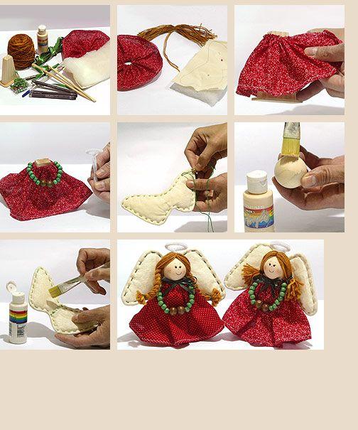 Materiales:   - base de cuerpo y esfera de maderas; género rojo con algún diseño; crea cruda; lana jaspeada café; cinta de raso verde; pelo...