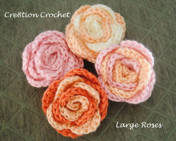 Large Crochet Rose Pattern Free : 1000+ images about Crochet - Flowers & Leaves on Pinterest ...