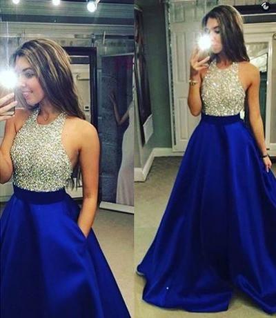 Royal Blue Satin Skirt Silver Beaded Bodice 2016 Prom Dress