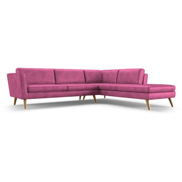 Deluna Mid Century Modern Pink Leather Sectional with Bumper (2 piece) (57.145 VEF) ❤ liked on Polyvore featuring home, furniture, sofas, pink, mid century modern leather couch, mid-century sofa, midcentury sofa, leather couch and mid century modern leather sofa