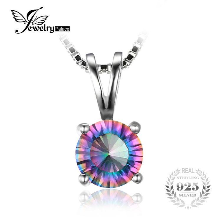 Jewelrypalace redondo genuino rainbow fuego místico topacio colgante real 925 joyería de plata esterlina marca para mujer sin cadena