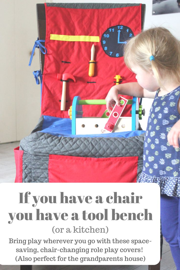 Whether it's fixing things or baking things, these chair covers have you covered! (Pardon the pun). The perfect role play solution for those short on space or to keep at the grandparents house. Now you can encourage pretend play anytime, anywhere!
