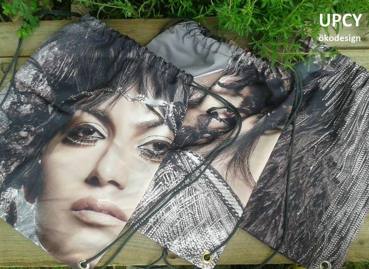 Továbbhasznosított reklám molinó tornazsák, hátizsák. Upcycled gymbag - inner flag recycling.