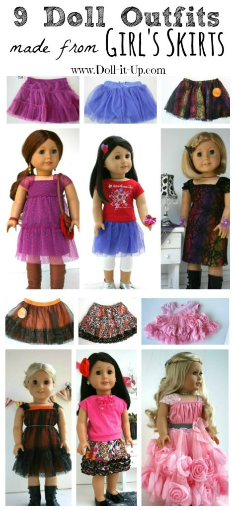 Save the skirts your daughter/granddaughter grows out of to sew into doll dresses and skirts. Here are 9 fun ideas to make a girl's skirt into doll clothes!