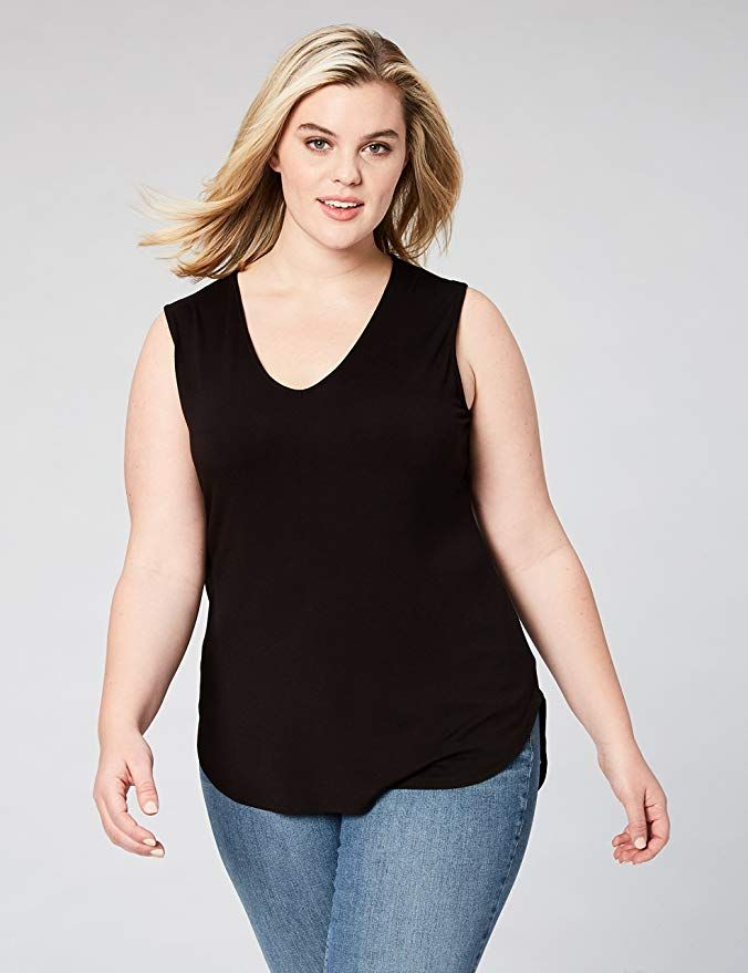 84d0e9ccdf5 Amazon.com  Daily Ritual Women s Plus Size Jersey V-Neck Tank Top  Clothing