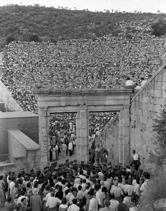 Ancient theater of Epidaurus, 1956. Photo by Dimitirs Harissiadis. The Benaki Museum Photographic Archive