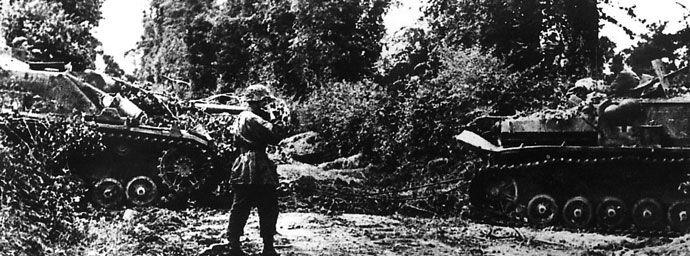 StuG IV tank destroyers of the 17. SS-Panzergrenadierdivision Götz von Berlichingen prior to the Battle of Carentan