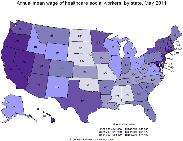 Healthcare Social Workers Employment & Wages --- i'm glad i live in one of the lightest-colored states