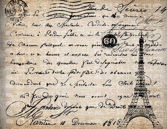 Antique Paris Postmarks Postcard Document Script Eiffel Illustration Digital Download for Papercrafts, Transfer, Pillows, etc Burlap No 3697. $1