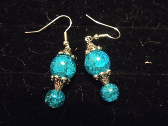 Silver and Bright Blue Bubble Resin Dangle Earrings by WCRSaenz, $5.00: Back To School