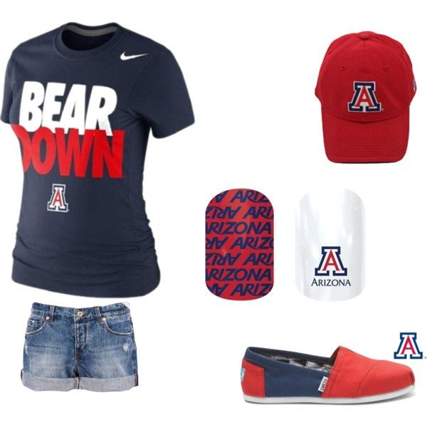University of Arizona game day attire - shirt, hat, shoes, and Jamberry University of Arizona nails!! http://woodburn.jamberrynails.net/