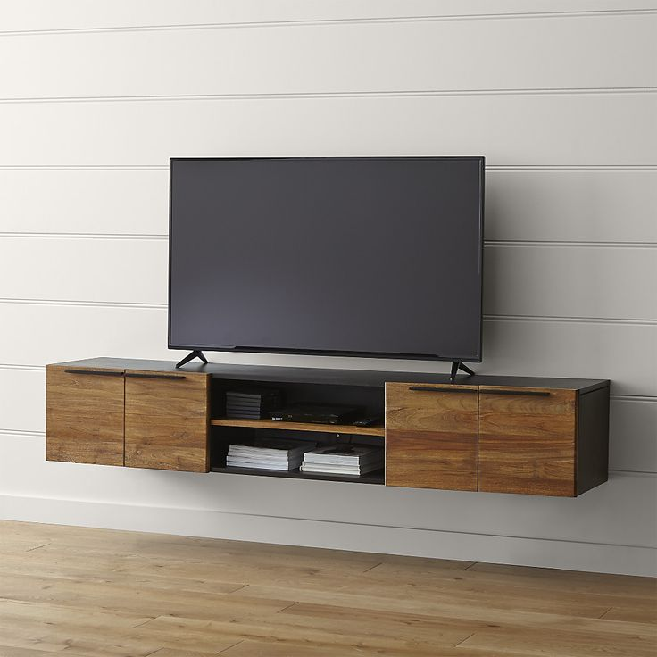 """Shop Rigby 80. 5"""" Large Floating Media Console.   Whether paired with its steel tube base or wall mounted on its own, the floating media console offers combined open and concealed storage with two doors, three shelves and plenty of cord management."""