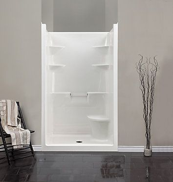 The Melrose 4 one piece shower stall is ideal for new construction and the domeless design provides additional space above for increased shower head height. Left or right is determined by plumbing.