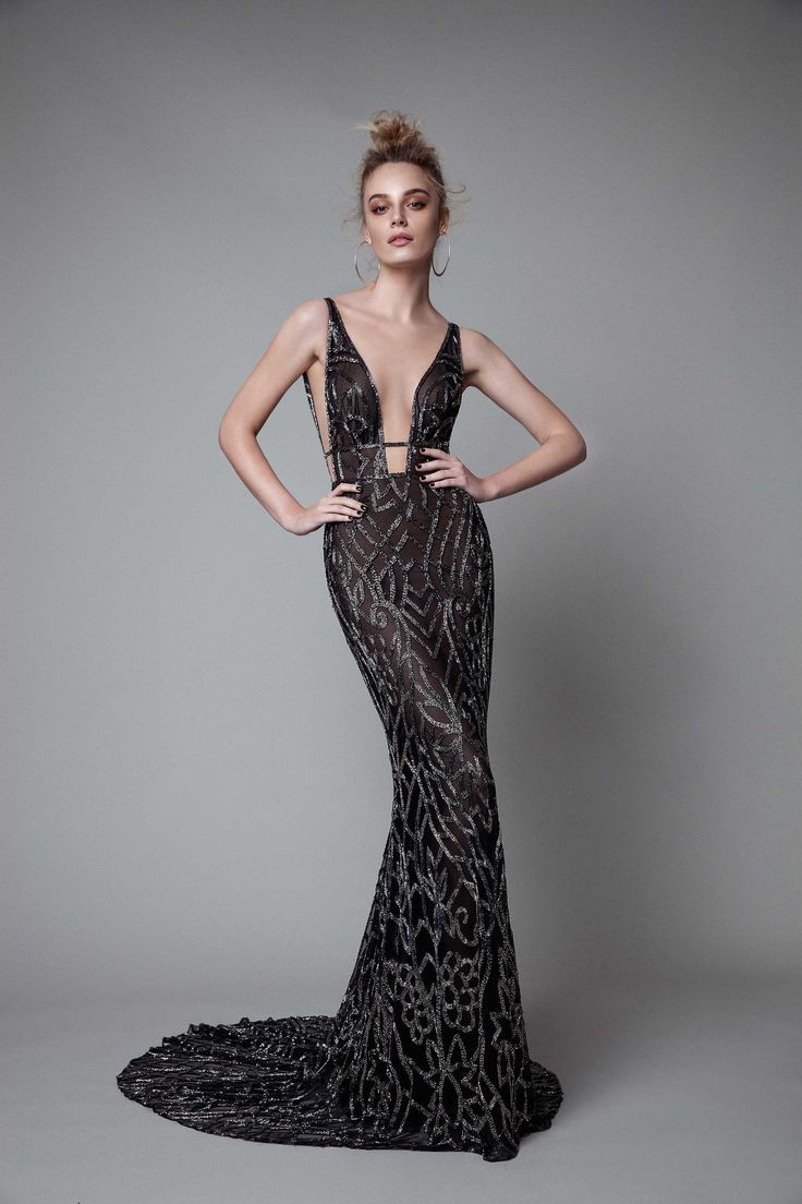 Into your fashion game with amazing party dresses cocktail dresses day - Berta Rtw Fall 2017 Sleeveless Deep Vneck Sheath Black Evening Dress Embellished Mv Berta Fall 2017 Ready To Wear Collection
