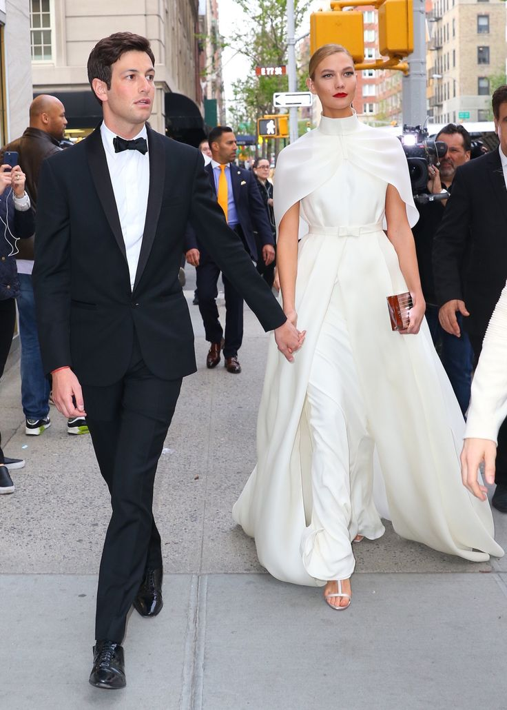 Karlie Kloss in Brandon Maxwell, seen May 2, 2016 in New York City with Joshua Kushner on her way to the  Met Gala.