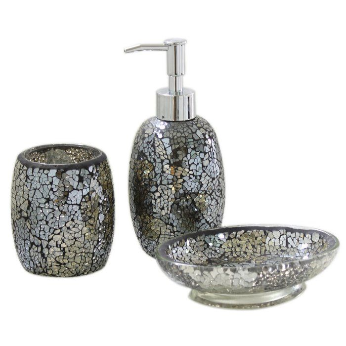 A glamorous addition to your bathroom, this accessories set features a mosaic design.
