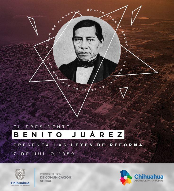 Un día como hoy, pero de 1859, el Presidente Benito Juárez anuncia en Veracruz las Leyes de Reforma, en las que se incluyen la Ley de Nacionalización de los Bienes del Clero, la Ley del Matrimonio Civil y la Ley Orgánica del Registro Civil. #ComSocChih #GobiernodeChihuahua