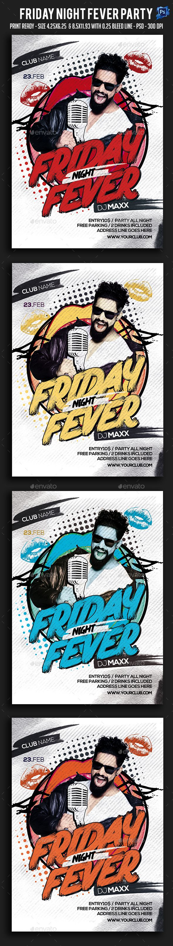 Friday Night Fever Party Flyer — Photoshop PSD #glamour #red • Available here → https://graphicriver.net/item/friday-night-fever-party-flyer/19228594?ref=pxcr