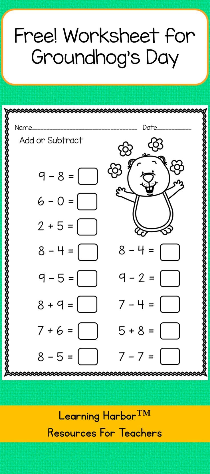 Free Groundhog Day subtraction within 20 worksheet. Download,print and  teach!