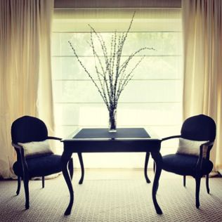 Bespoke Game table & Armchairs in black lacquer #karageorgiou
