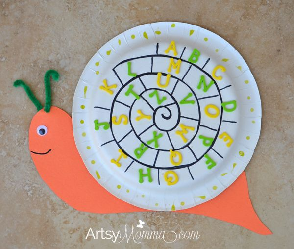 Paper Plate Snail Craft | Alphabet Activity for Preschoolers  sc 1 st  Pinterest & Best 17 Insects made with paper plates. images on Pinterest | Crafts ...