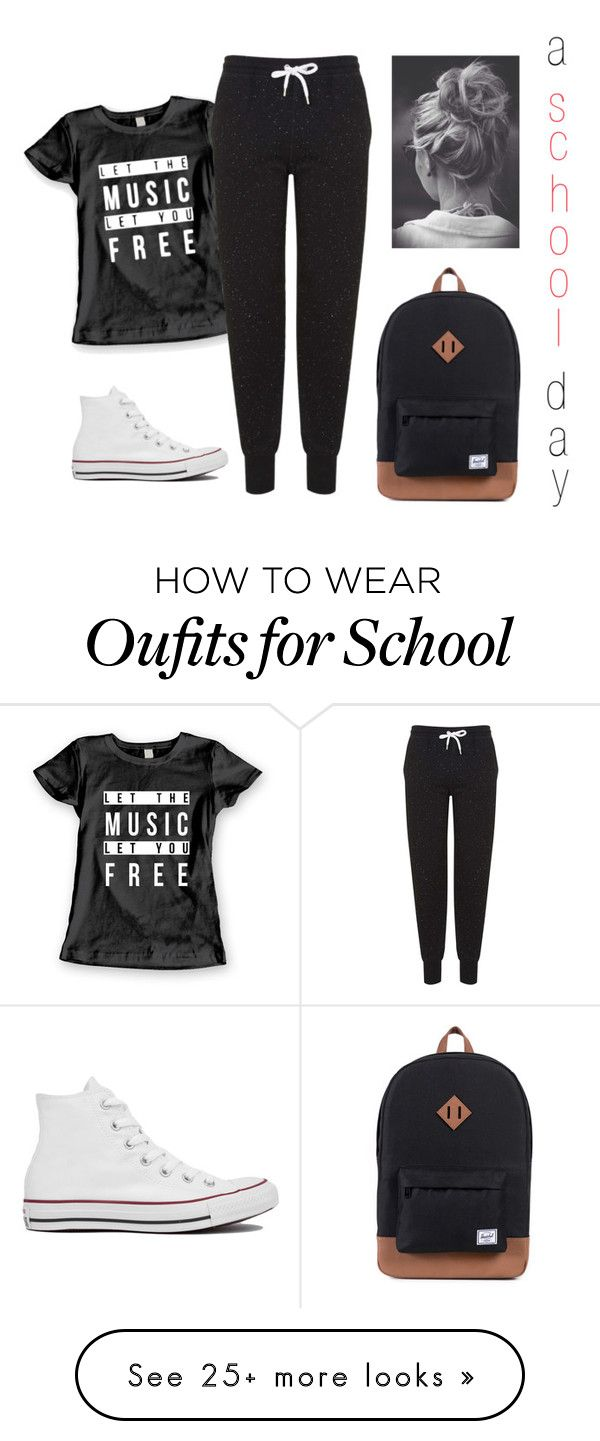 """a school day"" by sarah-tav on Polyvore featuring Topshop and Converse"