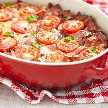 Gratin croustillant de tomates au jambon