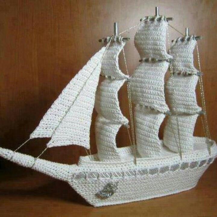 Crochet sailing ship