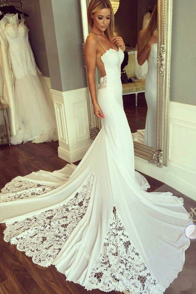 Mermaid Horny Sheer Neck Wedding ceremony Attire with Lace, Distinctive Ivory Bridal Costume N936
