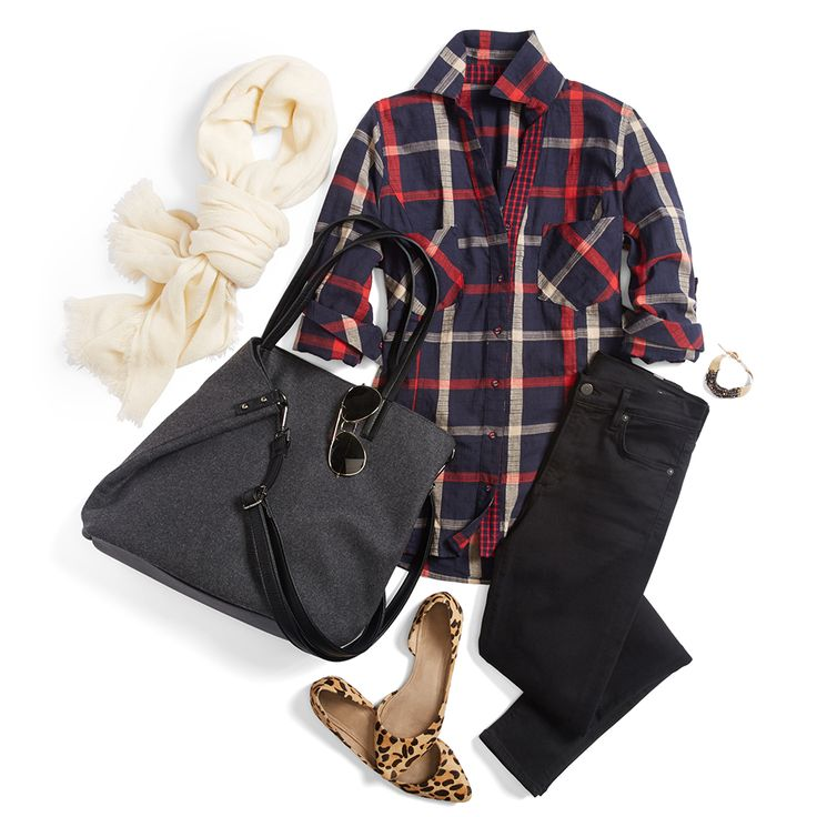Print-mixing with plaid? Yes! Stripes, florals & even leopard go with this gridded garment. #StylistTip