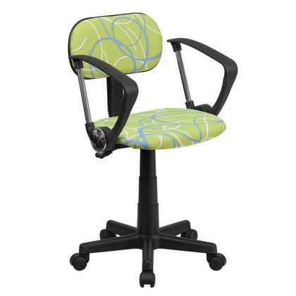 Flash Furniture Blue & White Swirl Printed Green Computer Chair with Arms BT-SWRL-A-GG