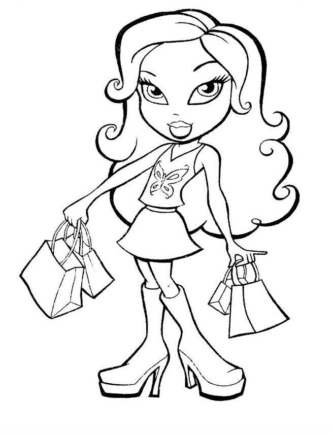 Bratz Carry Groceries Coloring Pages For Kids Printable