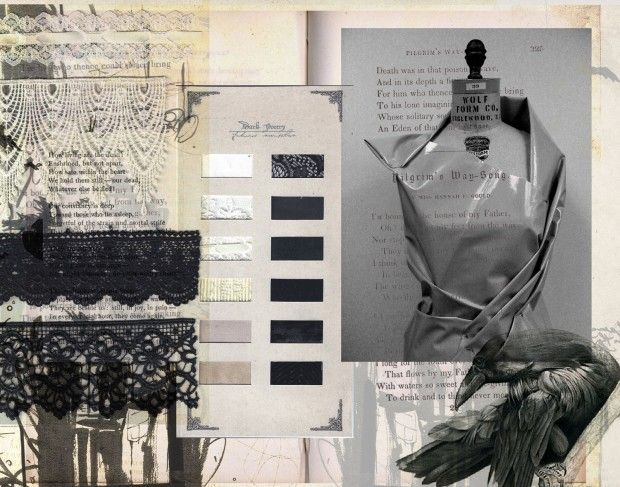 Fashion Portfolio layout - fashion sketchbook; fashion collage; fashion design process // Dark Poetry, Kittiya Punprapun