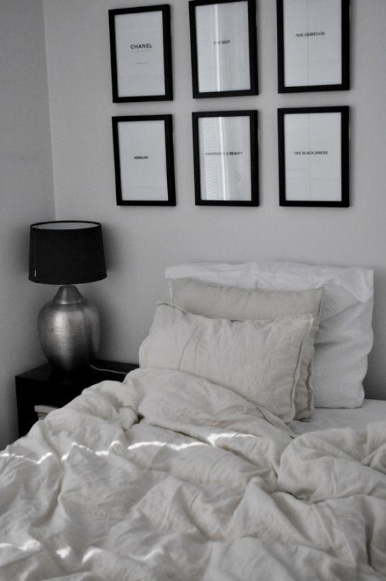 at home by rita   #frames #blackandwhite #beige #linen #ikea #lamp åsele #hmhome #clasohlson #chanel