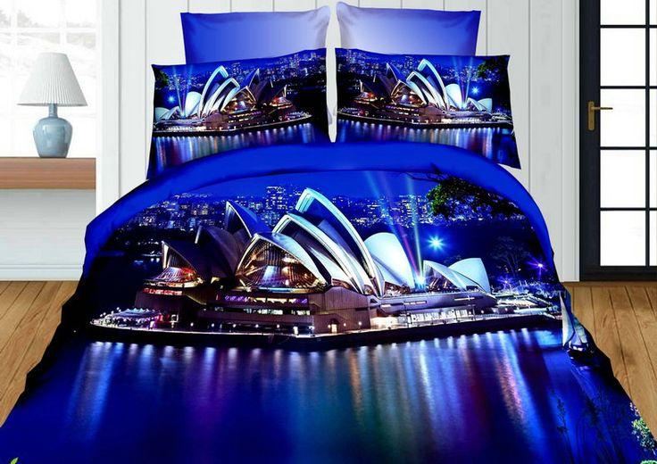 Realistyczna pościel w kolorze granatowym z motywem miasta Sydney