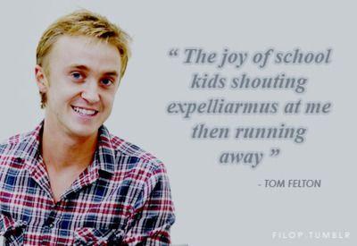 Harry Potter Tom Felton, Nerdy Funny, Harry Potter Random Facts, Nerd Facts, Awesome, So Funny, Schools Kids, Draco Malfoy, Running Away