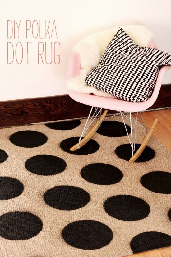 You can paint your own polka dot rug for any space