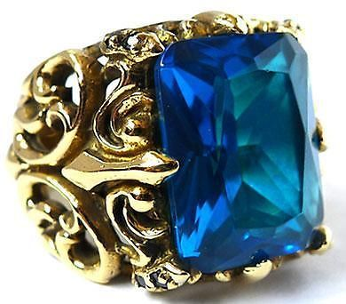 BIG BLUE TOPAZ GOTHIC KNIGHT GOLD BRASS RING Sz 7.5 NEW PUNK ROCK EMO BIKER GOTH