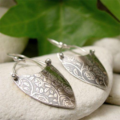 Rustic Rose Earrings, Sterling Silver Dangle Earrings, Flower Textured Silver Drop Earrings, Shield Earrings, Boho Earrings, Hippy Jewelry by lukelys on Etsy https://www.etsy.com/listing/249776532/rustic-rose-earrings-sterling-silver