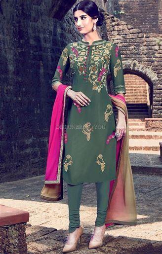 Designer Punjabi Suit Model With Contrast Color Floral
