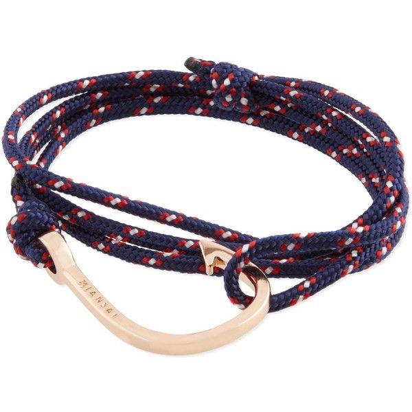 Miansai Rose gold rope hook bracelet (£66) ❤ liked on Polyvore featuring jewelry, bracelets, miansai, rose gold jewellery, nautical jewelry, pink gold jewelry and rose gold jewelry