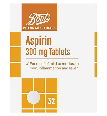 #Boots Pharmaceuticals Boots Aspirin 300mg Tablets - 32 Tablets 10120750 #0 Advantage card points. Boots Pharmaceuticals Aspirin Tablets for relief of mild to moderate pain, inflammation and fever. Each tablet contains Aspirin 300 mg.See details below, always read the label FREE Delivery on orders over 45 GBP. (Barcode EAN=5045092363942)